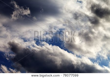 Blue Sky With Dark Clouds