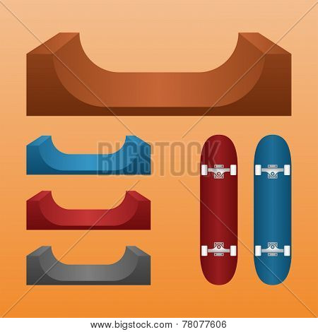 Skateboard ramp set, skateboards