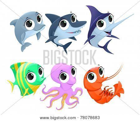 Funny marine animals. Vector cartoon isolated characters.