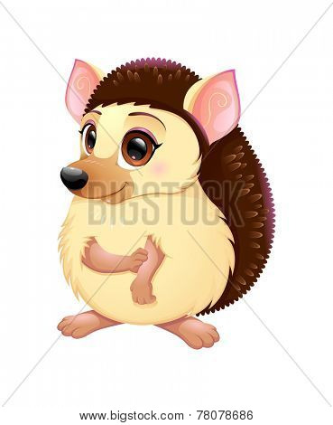 Cute porcupine. Funny cartoon vector isolated character