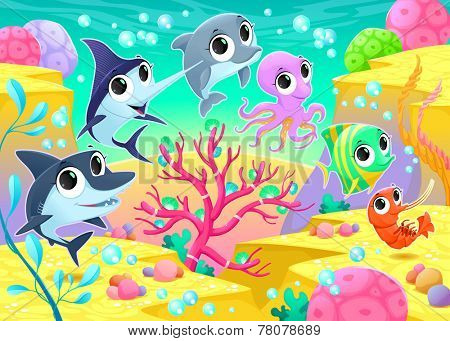 Funny marine animals under the sea. Cartoon vector illustration