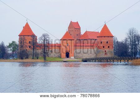 Lithuania, Trakai - November 17, 2014: Trakai Castle - Island castle in Trakai is a museum and a cultural center.