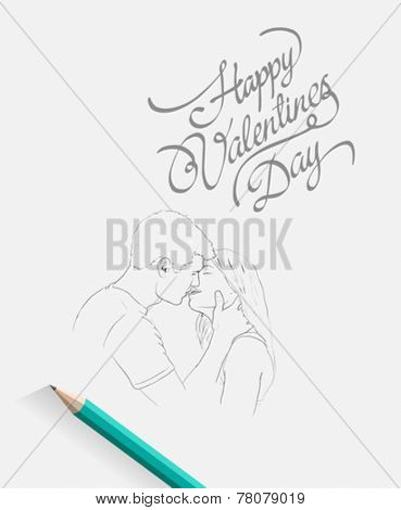 Digitally generated Sketch of kissing couple with pencil and message