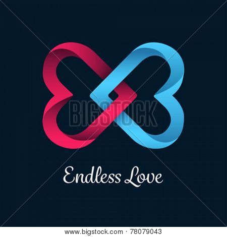 Digitally generated Endless love vector with linking hearts