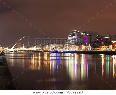 Liffey River At Night