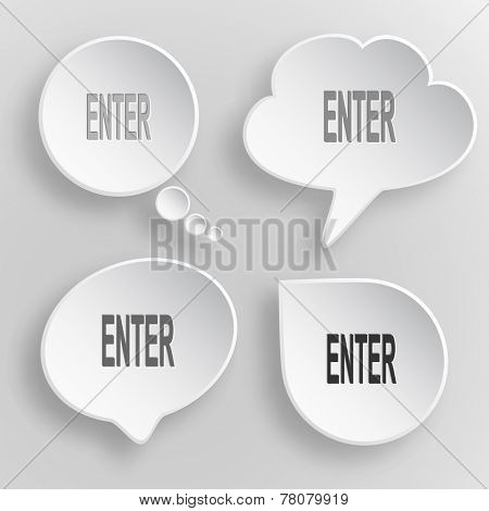 Enter. White flat vector buttons on gray background.