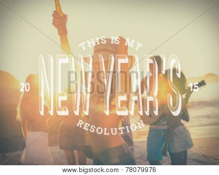 Digitally generated New years resolution message against beach party