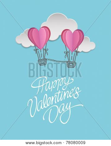 Digitally generated Happy valentines day vector with heart hot air balloons