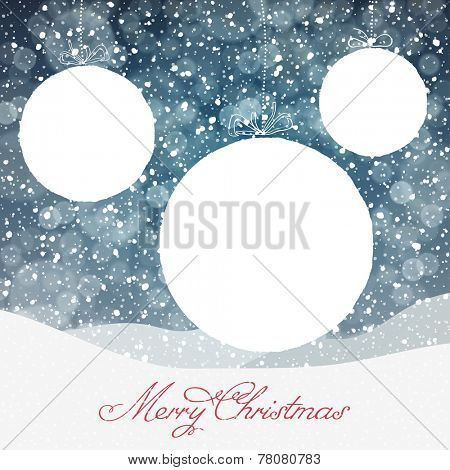 Christmas Ball Symbol and Falling Snow and Isolated Areas for Text