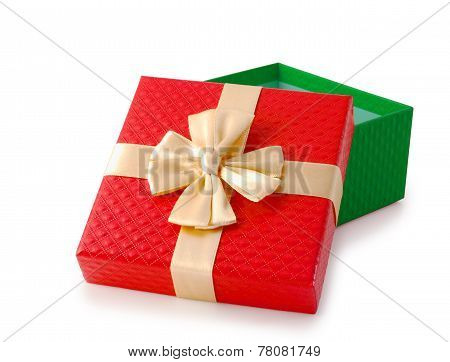Red And Green Christmas Gift Box Clipping Path.