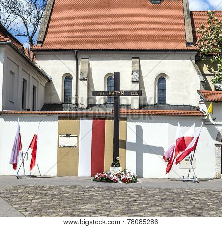 Cross Of Katyn Placed On The Square In Front Of The Church St. Gile