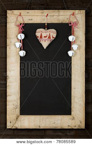 Merry Christmas New Years Chalkboard Blackboard Reclaimed Wood Frame With Decoration