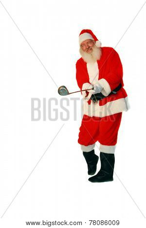 Santa Claus plays Golf. Focus is on the Golf Club with Santa Slightly out of focus for depth perception. Isolated on white with room for your text. Santa Loves Golf and plays with the elves often