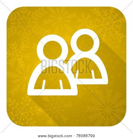 forum flat icon, gold christmas button, people sign