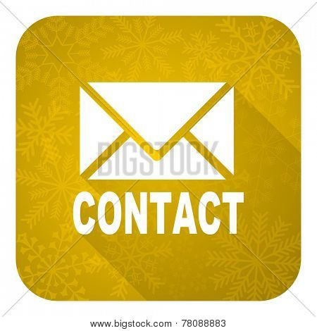 email flat icon, gold christmas button, contact sign