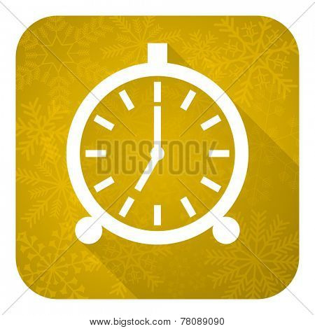 alarm flat icon, gold christmas button, alarm clock sign
