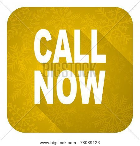 call now flat icon, gold christmas button