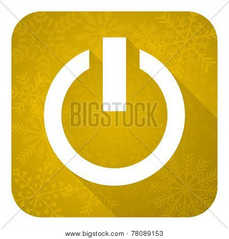power flat icon, gold christmas button, on off sign