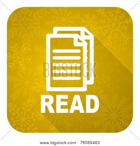 read flat icon, gold christmas button