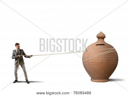 Businessman And His Moneybox