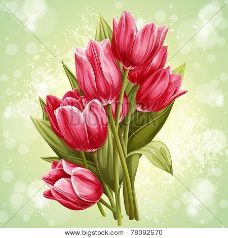 bouquet of flowers of pink tulips