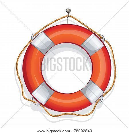 cartoon illustration of vector sailing red lifebuoy