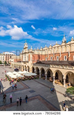 Market Square In A Historical Part Of Krakow