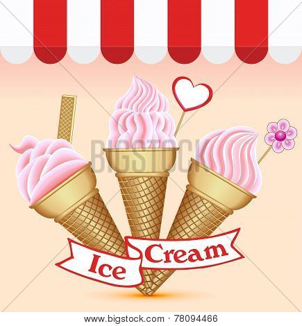 Background With A Set Of Ice Cream