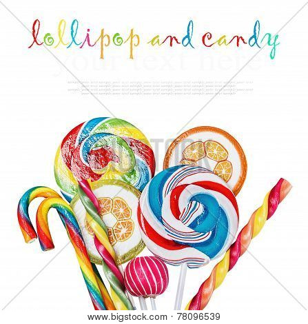 Candies And Lollipops Isolated On White