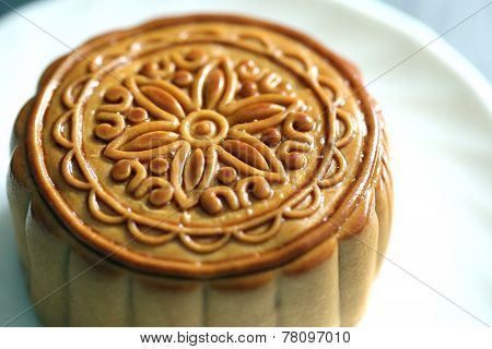 Durian Fruit Of Mooncake In White Dish.