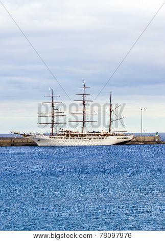 Sea Cloud 2 Anchors In The New Harbor Of Arrecife