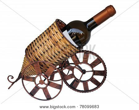 Wine Bottle In A Support Isolated On White Background