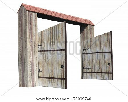 Old Opened Wooden Gate Isolated On White Background