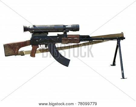 Assault Rifle With Optical Sight Isolated On White Background