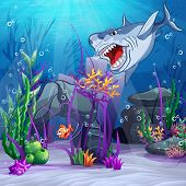 picture of animated cartoon  - Illustration of the underwater world and the evil shark - JPG