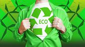 image of open shirt breast showing  - Man wearing in shirt with eco recycling sign - JPG