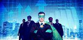 image of superhero  - Superhero Businessmen Cityscape Stock Market Team Concept - JPG
