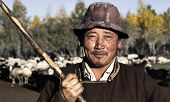 picture of mongolian  - Portrait of mongolian man famer - JPG