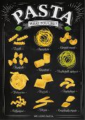stock photo of spaghetti  - Poster set of pasta with different types of pasta fusilli spaghetti gomiti rigati farfalle rigatoni tagliatelle spinaci fettuccine ravioli tortiglioni cellentani penne conchiglie rigate in retro style stylized drawing with chalk - JPG