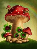 picture of magical-mushroom  - Magic mushrooms and four leaf clover - JPG