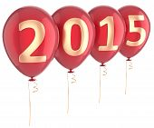 foto of helium  - New Year 2015 balloons party holiday decoration - JPG