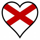 picture of alabama  - Alabama state flag within a heart all over a white background - JPG
