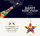 foto of shooting stars  - Happy New Year champagne splash and Merry Christmas shooting star in hipster triangle shapes - JPG