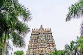 foto of tamil  - exquisite colorful sculpture on tower Jambkeshwara Temple Tiruchirapalli Tamil Nadu India Asia - JPG