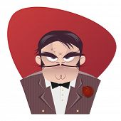 stock photo of mafia  - sinister cartoon mafia  boss - JPG
