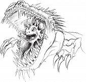 picture of parasite  - Alien Parasite Monster Sketch Vector Illustration Art - JPG