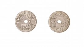 stock photo of spanish money  - vintage Spanish coin in obverse and reverse - JPG