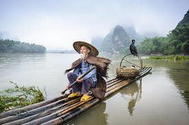 image of traditional  - Traditional Chinese cormorant fisherman on the Li River in Yangshuo - JPG