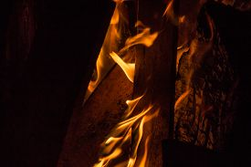 stock photo of tetrahedron  - Images taken by a large warm bonfire made out of wood pallet at a fire festival in Chester County PA. ** Note: Visible grain at 100%, best at smaller sizes - JPG