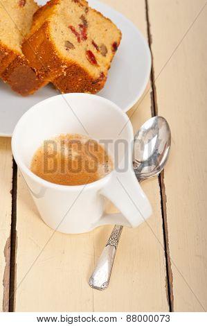 Plum Cake And Espresso Coffee